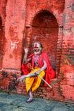 Wandering  Shaiva sadhu (holy man) in ancient Pashupatinath Temple Stock Image