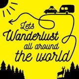 Wanderlust all around the world poster. stock illustration