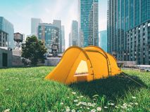Wanderlust in a big city. camping concept. 3d rendering Royalty Free Stock Images
