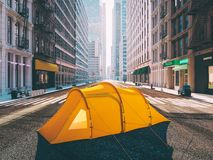 Wanderlust in a big city. camping concept. 3d rendering Royalty Free Stock Photography