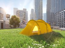 Wanderlust in a big city. camping concept. 3d rendering Royalty Free Stock Photo