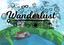 Wanderlust graphic with 3D animation earth. Digital composite of Wanderlust graphic with 3D animation earth Stock Photos