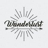 Wanderlust spirit design. Wanderlust card with arrow icon. black and white design.  illustration Royalty Free Stock Photo