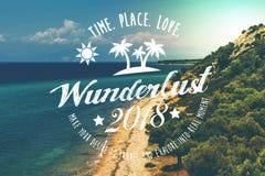Wanderlust summer concept. Wanderlust summer poser 2018 on beach background Stock Image