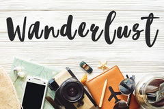 Wanderlust text sign. travel concept on white background flat la Stock Photos