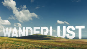 Wanderlust is to explore and journey. The inscription on the background of a picturesque landscape. Trip Tourism Worldwide Lifesty Royalty Free Stock Image