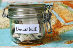 Wanderlust travel jar Stock Photography