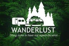 Wanderlust concept. Wanderlust travel logo on green leaves background. Vector Illustration Stock Photo