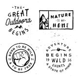 Wanderlust vector logotypes, adventure badges in vintage style. Wanderlust vector logotypes, adventure badges in vintage retro typography style Stock Image