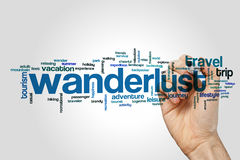 Wanderlust word cloud concept Stock Photo