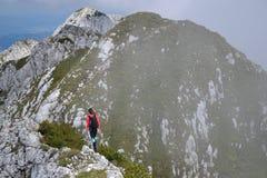 Wandern auf Ridge Of Piatra Craiului Mountain lizenzfreies stockfoto
