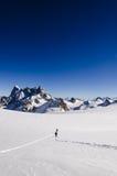 Wandern auf Vallee Blanche Lizenzfreie Stockbilder