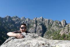 Wandern bei Korsika Stockfotos