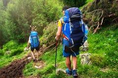 Wandern in den Bergen stockbilder