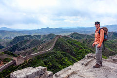 Wandern der Chinesischen Mauer stockfotografie
