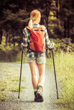 Wandern der jungen Frau stockbild