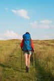 Wandern der jungen Frau mit dem Rucksack- und Wanderstockgehen Lizenzfreie Stockfotografie