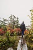 Wandern des Acadia-Nationalparks im Fall Lizenzfreie Stockfotos