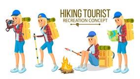 Wandern des Frauen-Vektors Wandern in den Bergen Abenteuer in der Natur, Ferien Lokalisierte flache Zeichentrickfilm-Figur-Illust lizenzfreie abbildung