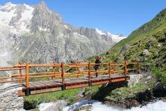 Wandern des Mädchens auf einer Gebirgsbrücke lizenzfreie stockfotos