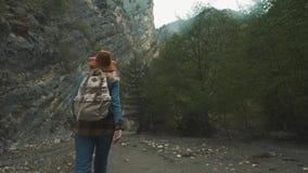 Wandern des Trekkings in den Bergen Hintere Ansicht der Rückseite einer jungen Reisendfrau, die währenddessen mit einem Rucksack  stock video footage