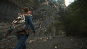 Wandern des Trekkings in den Bergen Hintere Ansicht der Rückseite einer jungen Reisendfrau, die währenddessen mit einem Rucksack  stock footage