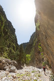 Wandern durch Samaria Gorge Stockbild