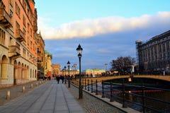 Wandern durch Stockholm Stockbild