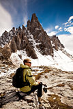 Wandern im Dolomit Stockbilder