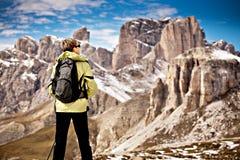 Wandern im Dolomit Stockfotografie