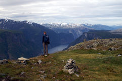 Wandern im Fjord Norwegen Stockfoto