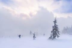 Wandern im Schneesturm Lizenzfreie Stockfotos