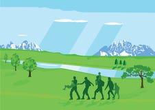 Wandern mit Kindern Lizenzfreies Stockfoto