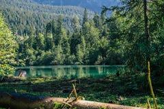 Wandern Sie zum Crestasee in Obersaxen, GraubÃ-¼ nden die Schweiz stockfotografie