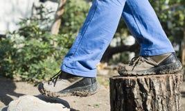 Wandern von Schuhen Stockfoto