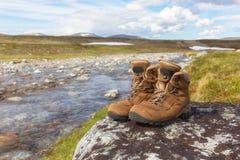 Wandern von Schuhen eines Wanderers auf einem Felsen lizenzfreie stockfotos