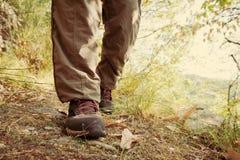 Wandern von Schuhen mit roten Spitzeen und den Beinen, die lange braune Hose tragen lizenzfreies stockbild