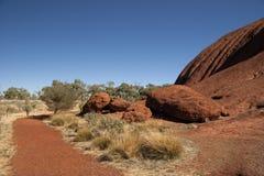Wandern von Uluru Stockfoto