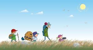 Wandernde Kinder laufen die Steppenkarikatur durch Stockfotografie