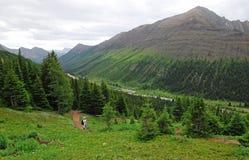 Wandernde Spur auf Alpenschneehuhn cirque Stockbild