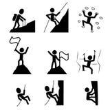 Wandernde und kletternde Ikone Vektor Lizenzfreie Stockfotos