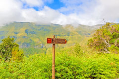 Wandernder Madeira, Wegweiser 25 Fontes, grünes Binnenland der Insel Lizenzfreie Stockbilder