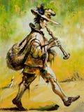 Wandernder Troubadour spielt ein Rohr Lizenzfreie Stockfotos