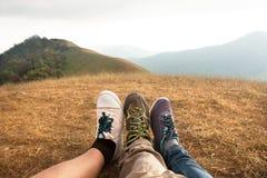 Wanderung auf Berg Lizenzfreie Stockfotos