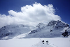 Wanderung auf dem Gletscher Lizenzfreie Stockbilder