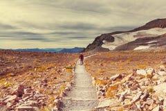 Wanderung auf Mt regnerischer lizenzfreie stockbilder