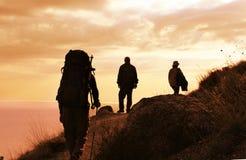 Wanderung auf Sonnenuntergang Stockfotos