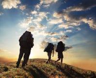 Wanderung auf Sonnenuntergang Lizenzfreie Stockfotografie