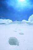 Wanderung in den Schneebergen Stockbild