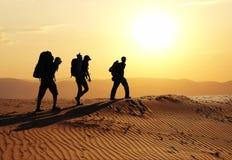 Wanderung in der Wüste Stockfoto